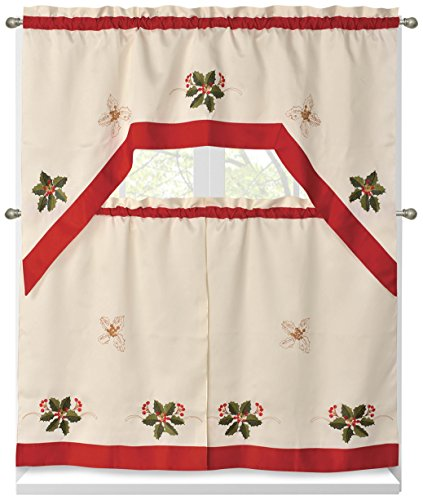 Holiday Holly Berries Embroidered Sheer 3-Piece Kitchen Tier Set with Red Trim Border