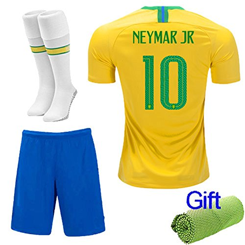 New Fi  2018 Football Soccer Kits Short Sleeve for Kids Boys Youth 3-12 Years Old Sport Outfit +Socks and Free Ice Face Cloth (5-6 Years, Neymar jr ()