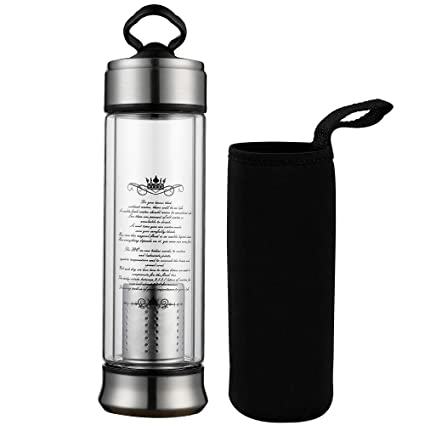 Amazon.com: Infusor de té de cristal taza de viaje con ...