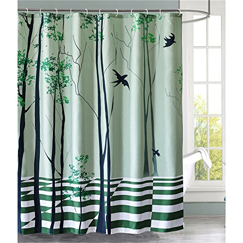 Apple Blossom Photo (LanMeng Fabric Shower Curtain, Swallow Flying Through The Tree, Green Black (72-by-72 inches))