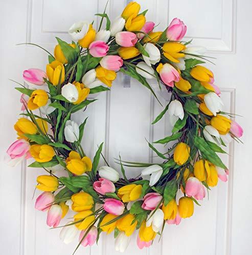 (ES ESSENTIALS Tulip Door Hanging Spring Wreath, Yellow Pink White, 24