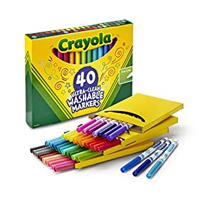 Crayola; Ultra-Clean Fine Line Markers; Art Tools; 40 Different Colors; Bright, Bold and Washable