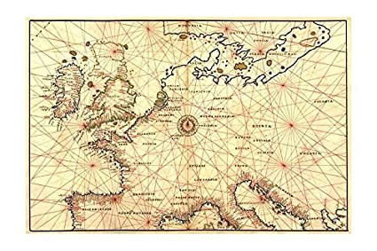 Map Of England France And Spain.Amazon Com Buyenlarge Portolan Map Of Spain England France