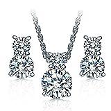 Majesto 925 Sterling Silver Crystal CZ Necklace Pendant Stud Earrings Jewelry Set for Women Teen Girls Kids Gift