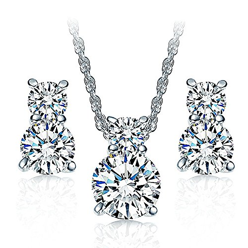 925 Sterling Silver Crystal CZ Necklace Pendant Stud Earrings Jewelry Set for Women Teen Girls Kids Gift 925 Silver Studs Pendant