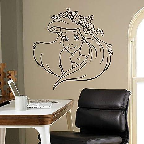 HFDHFH Calcomanías Interiores de construcción Sirenita Hermosas Pegatinas de Pared decoración del Dormitorio Interior del hogar diseño de Pared de Dibujos Animados 57X59 CM