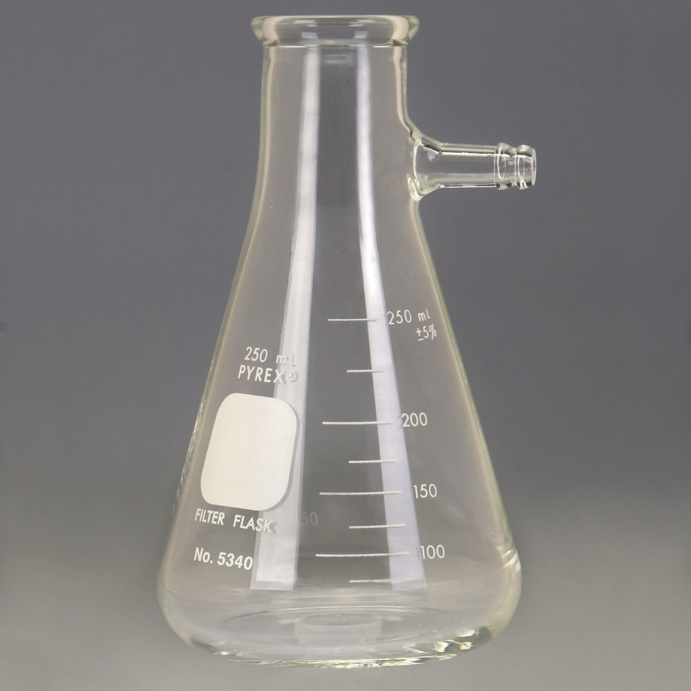Pyrex Glass Filtering Flask, Heavy-Walled, with Side Tubulation, 250 mL