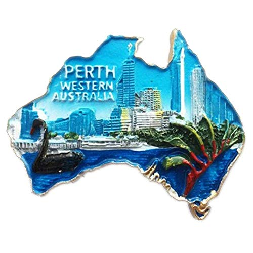 Refrigerator Magnets Resin 3D Funny Perth Australia City Tourist Souvenirs Fridge Stickers Magnetic Fridge Magnet for Whiteboard Home Kitchen Decoration Accessories Arts Crafts Gifts]()