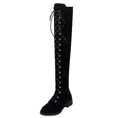 3fb9dd2cde2a Artfaerie Women s Lace IP Low Heel Flat Over The Knee Boots Side Zipper  Sweet Ladies Long