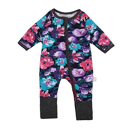 d123d0ca5 Baby Girl Clothes Floral Print Pajamas Sleeper Jumpsuit One-Pieces  Coveralls (90(18