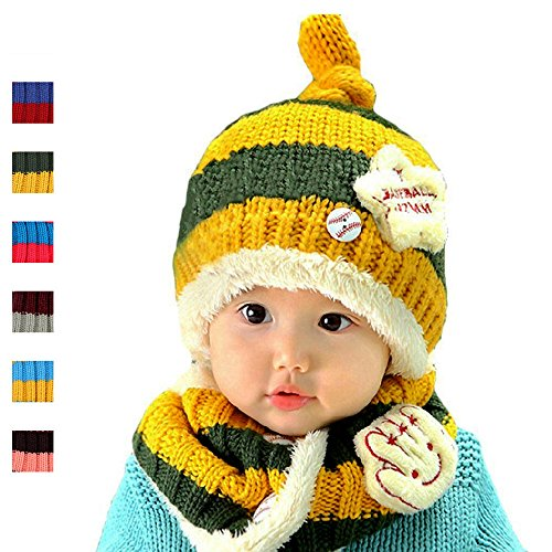 Hottest Wool Scarf Hat Sets,Dealzip Inc Wool Scarf Hat Sets Yellow/Green Wool Hat Scarf Set Winter Warm Wool Knitting Fleece Lining Beanie Hat Scarf 2 Pcs Combo for Baby Girls Boys Kids Toddler