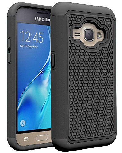 J1 2016 Case, Galaxy Amp 2 Case, Galaxy Express 3 Case, Asstar Hybrid Dual Layer Armor Defender Protective Case Cover for Samsung Galaxy J1 2016 / Amp 2 / Express 3 (Black)