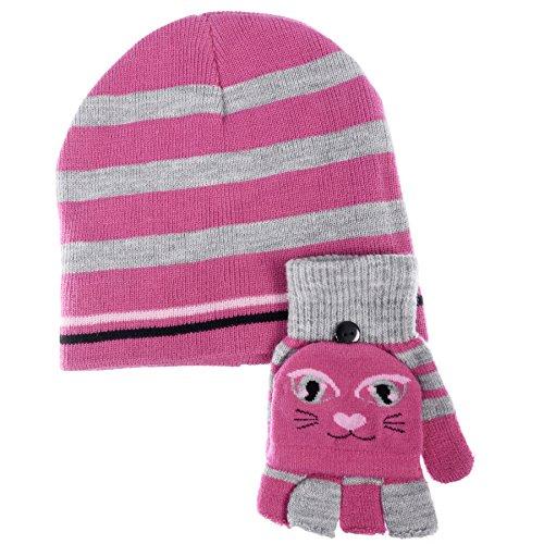 Chili Peppers Girls Pop-Top Glove Hat Set (Printed Fleece Mitten)