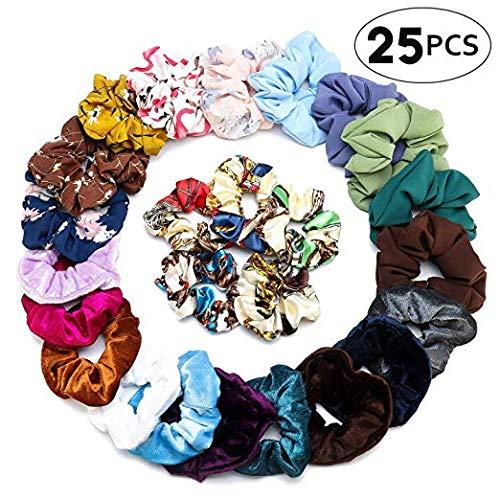 Zenpy 25 Pcs Hair Scrunchies 4 Styles Hair Bands Set Scrunchy Hair Ties Ropes Scrunchies for Women or Girls Hair Accessories - 25 Assorted Colors(Velvet, Chiffon, Silk)