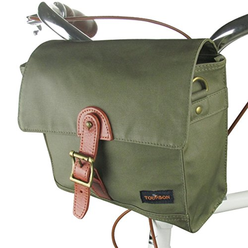 Tourbon Canvas Cycling Bike Handlebar Bag Bicycle Saddlebags Shoulder Messenger Storage