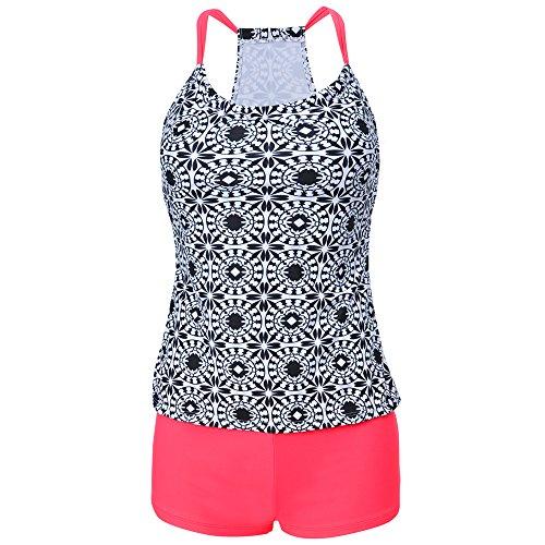 Eleoption Two Piece Swimsuit Set With Boyleg Swim Short Cover Ups Bathing Suit Bikini Swimsuit Sport Suit For Lady Teens Girls (S, Pink) (Alluring Short)