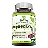Herbal Secrets Grapeseed Extract 400 mg 120 Capsules (Non-GMO)- Support Brain Functions & Immune Health* Supports cardiovascular Health*