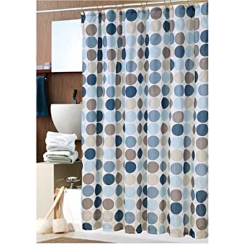 Amazon.com: Bold Blue Circles Fabric Shower Curtain with Hooks: Home ...