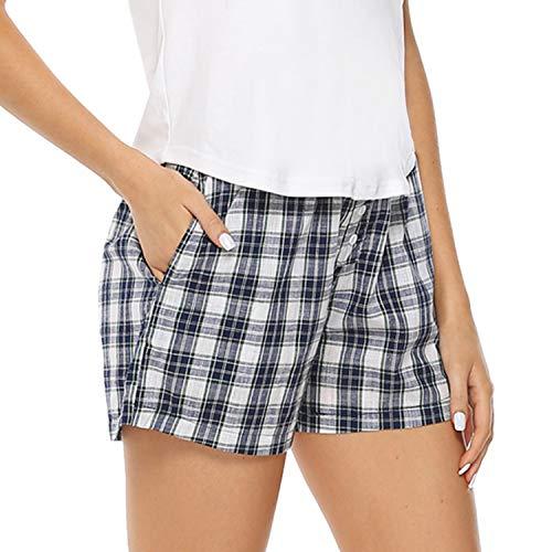 Hawiton 1 & 2 Pack Women's Plaid Cotton Sleeping Pajama Shorts Lounge Boxer Drawstring Bottoms Blue ()