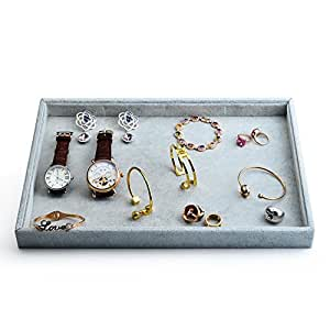 Oirlv Velvet Stackable Jewelry Trays Grids Rings Earrings Bracelet Watch Showcase Display Tray