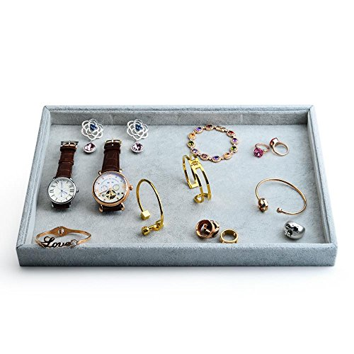 Oirlv Velvet Stackable Jewelry Trays Grids Rings Earrings Bracelet Watch Showcase Display Tray from Oirlv
