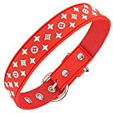Designer Dog Collar for XSmall, Small, Medium and Large Breeds, in Black, Brown, Pink, Blue, Red and Monochrome (L, Red)