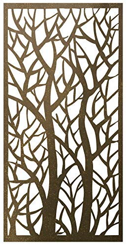 Stratco Decorative Privacy Screen Panel | 4' x 2' Screen | Forest Design with Rustic Look Four Foot by Two Foot Lightweight Metal Privacy Screen (Room Furniture Dividing)