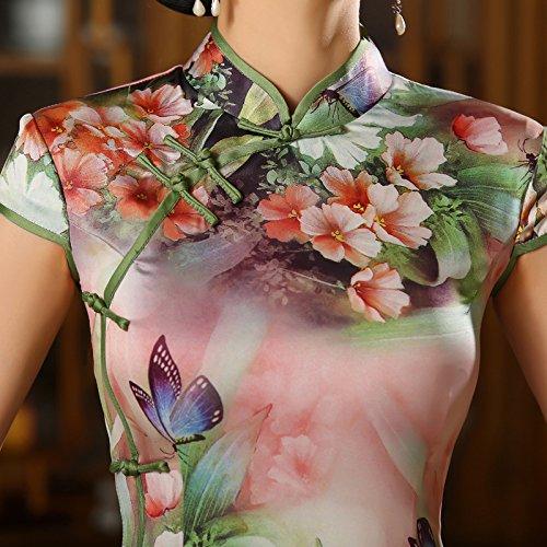 Yue Lian Damen Blumen und Schmetterling Qipao Figurbetont Maxikleid Abendkleid Hochzeit Pleg4