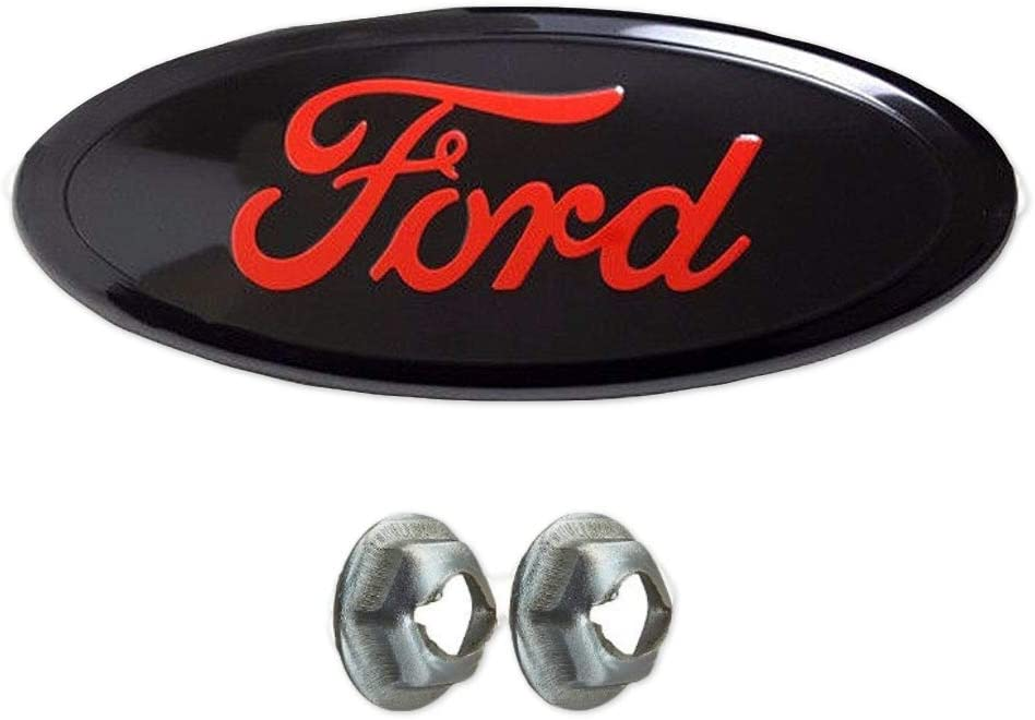 Black Tailgate Emblem Replacement W//Nuts Compatible With F150 2005-2014,Oval 9X3.5,3 Mounting Tabs,Front Grill Badge NamePlate Fits 05-07 F250 F350 11-14 Edge 11-16 Explorer 06-11 Ranger
