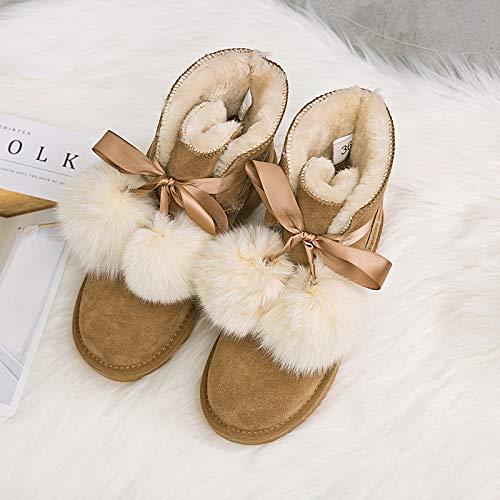 Shukun Bottes de neige Bottes de Neige Hivernales, Hivernales, Hivernales, Tube en PU pour Femmes et Chaussures en Coton épais et Chaudes, Bottines en Coton 38 maroon 76e48a