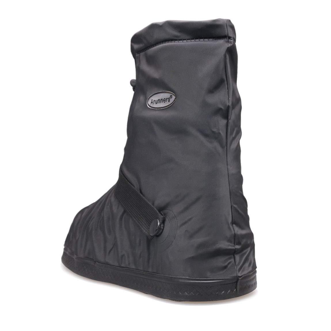 XXL,Black SZAT PRO Shoe Cover Mens Rain Boots Waterproof//Thickened edge//button strap//zipper//Elastic bandage