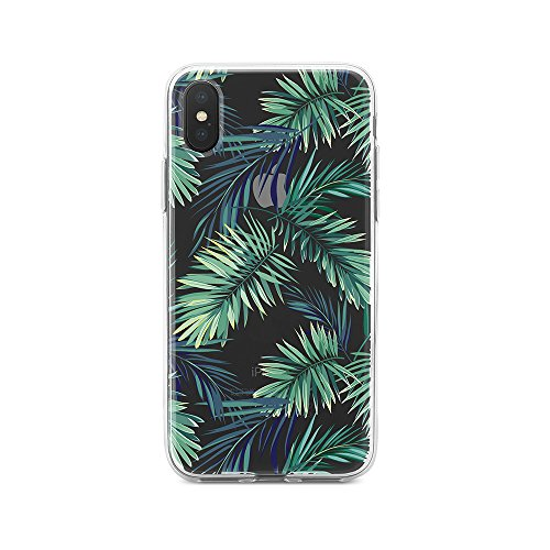 Design Hard Phone Case - Obbii Clear Case for iPhone X (5.8inch) Obbii Unique Palm Tree Leaves Design Hard Shell Solid PC Back Soft TPU Bumper Protective Case for iPhone X