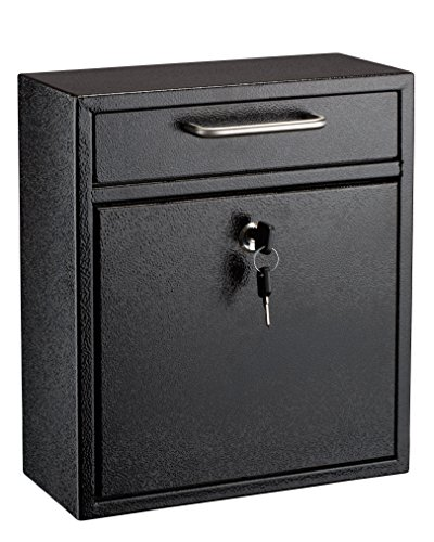 Wall Blk Mailbox (AdirOffice Locking Drop Box – Wall Mounted Mailbox – (Medium, Black))