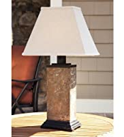 Slate Outdoor Table Lamp With All-Weather Shade by Plow & Hearth®
