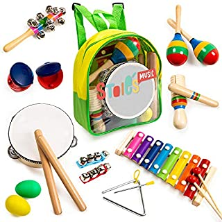 Stoie's 18 pcs Musical Instruments Set for Toddler and Preschool Kids Music Toy - Wooden Percussion Toys for Boys and Girls Includes Xylophone - Promotes Early Development and Educational Learning.