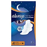 Always Infinity Size 4 Overnight Feminine Pads with Wings, Unscented, 28 Count - Pack of 3 (84 Total Count) (Packaging May Vary)