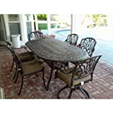 Heritage Outdoor Living Elisabeth Cast Aluminum 7pc Outdoor Patio Dining Set w/ 42″ X 72″ Oval Table – Antique Bronze