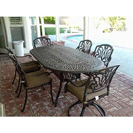 Heritage Outdoor Living Elisabeth Cast Aluminum 7pc Outdoor Patio Dining  Set W/ 42u0026quot; X