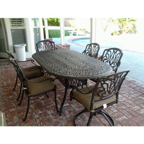 Tropitone Aluminum Oval Table - Heritage Outdoor Living Elisabeth Cast Aluminum 7pc Outdoor Patio Dining Set w/ 42