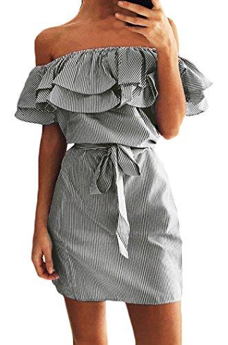 Damen Sommerkleider Etuikleid Cocktailkleid Elegant Off Schulter ...