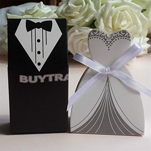 Bridal Box - 100 Pcs Bridal Gift Cases Groom Tuxedo Dress Gown Ribbon Wedding Favor Candy Box - Pedestal Spring Glossy Shoe Original Gloves Tshirt File Pack Candy Storage Jumps Boxer Brie