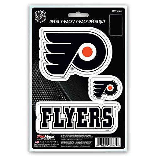 NHL Philadelphia Flyers Team Decal, 3-Pack (Nhl Hockey Sticker Decal)