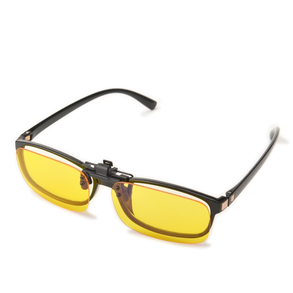 Gudzws Clip on Anti Blue Light Filter Glasses UV Blocking Anti Eye Strain Yellow Lens Unisex