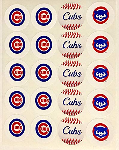 Set of 20 Chicago Cubs Sticker Phone Small Mini Decal Logo Birthday Parties Envelopes ()