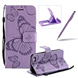 Strap Leather Case for iPhone SE,Wallet Leather Case for iPhone 5S,Herzzer Premium Stylish Pretty 3D Purple Butterfly Printed Bookstyle Magnetic Full Body Soft Rubber Flip Portable Carrying Stand Case with Card Holder Slots