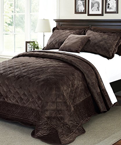 Serenta Super Soft Microplush Quilted 4 Piece Bedspread Set, King, Chocolate