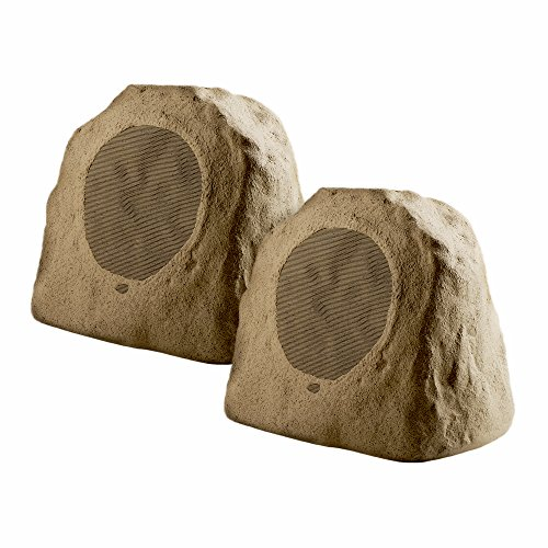 Bluetooth Wireless Rock Speaker Pair, 8″ 100W Weather-Resistant Outdoor Speakers with IP67 Waterproof Power Supply and Reinforced Cabinet Shell – (Brown)