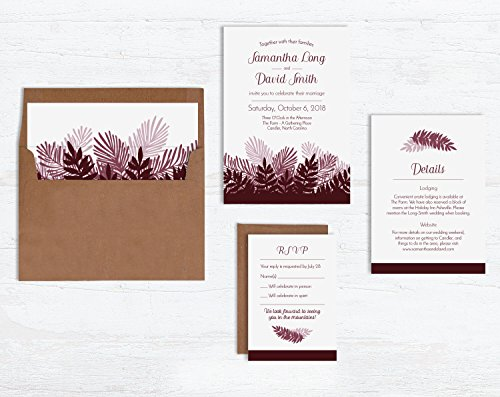 Pine Branch Wedding Invitation Sets by Wild Blue Dream & Wild Blue Weddings