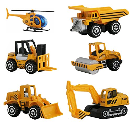 Soophen Construction Toys Sets,6 Pieces Mini Vehichles,Including Dumper,Bulldozer,Forklift,Helicopter,Asphalt Car and Excavtor,Free Wheeling Cars for Children Kids Boys and Girls