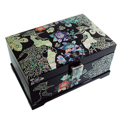- Mother of Pearl Inlay Garden of Peacock Design Lacquer Wooden Black Mirrored Jewelry Trinket Keepsake Treasure Gift Box Case Chest Organizer